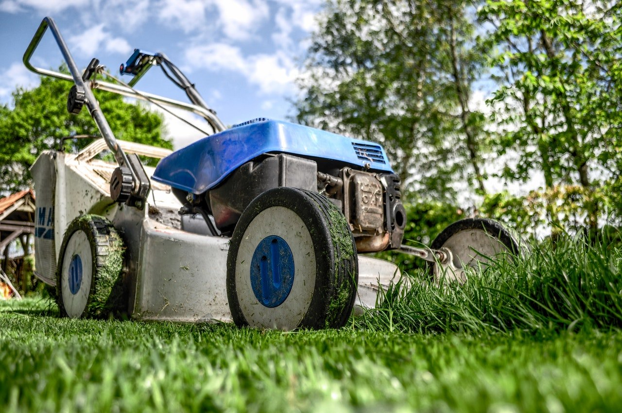 cutting lawn with mower